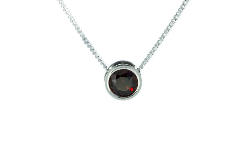 Garnet Necklace  January Birthstone Jewelry  925 Sterling image 0