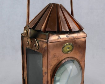 Antique Lowestoft Steam Drifters Copper Candle Lantern