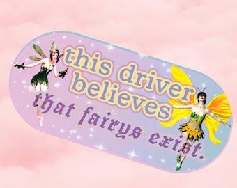 faeries funny bumper sticker uv resistant 6x2 in