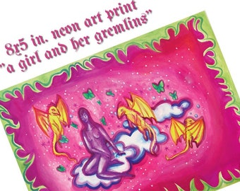 """neon art print small art """"a girl and her gremlins"""" dragon sparkle art 8x5 in. wall art home decor"""