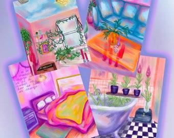 magic dream room set postcard size 4 wall art prints magical fairy wall decor