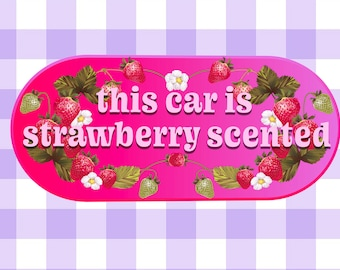 strawberry funny bumper sticker weatherproof 7x3.5 in sticker cottagecore