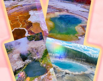 magic yellowstone park postcard set of 4 wall art photography springs/geysers gift for nature lovers