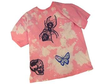 Pink bleach dye goth spooky tshirt pastel goth punk skull spider pentagram tshirt