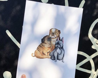 Custom pet portraits / Watercolour