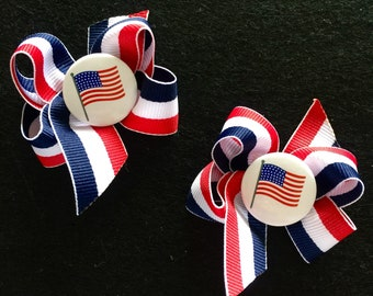 9ab09ba6d1b70 Patriotic Flag Small Boutique Pigtails Hairbows Set of 2