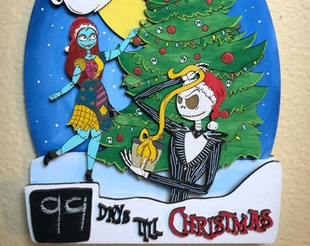 Xmas Countdown Hanging | Wood Wall Decor | Christmas Countdown | Nightmare | Spooky Christmas