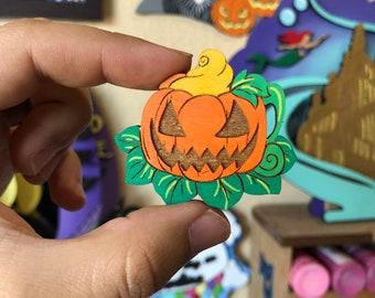Pumpkin Mug Mini Wood Pin or Magnet | Wood Pin | Mini Pin | Fan Art | Halloween Pin | Spooky Pumpkin Pin | Pumpkin