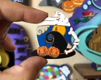 Nightmare Mug Mini Wood Pin or Magnet | Wood Pin | Mini Pin | Fan Art | Halloween Pin | Villain Pin