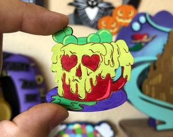 Poison Apple Mug Mini Wood Pin or Magnet | Wood Pin | Mini Pin | Fan Art | Halloween Pin | Poison Apple Pin | Villain Pin