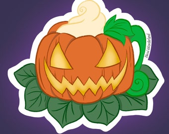 Pumpkin Mug Vinyl Sticker | Spooky Mug | Spooky Sticker | Halloween Sticker