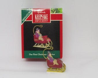 1991 Hallmark Country Sleigh Miniature Ornament NIB NEW