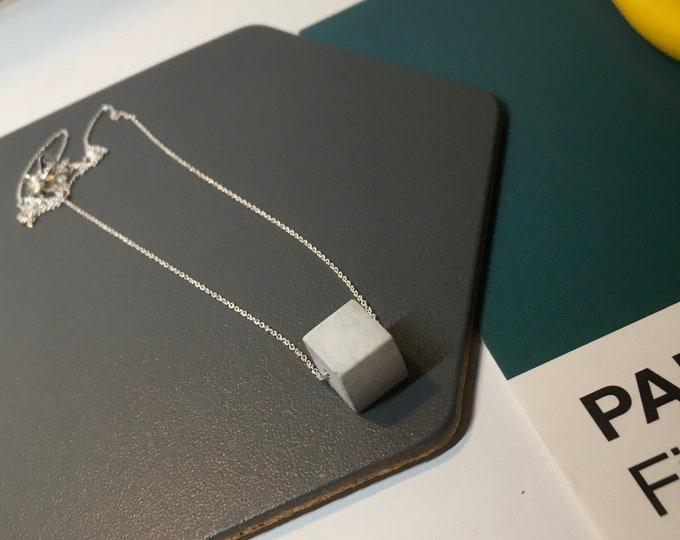 Concrete Cube Necklace Small - Silver // Minimalist Necklace // Brutalist Necklace // Cube Necklace