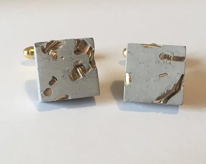 Concrete and Gold Cufflinks //Industrial Cufflinks // Brutalist Cufflinks