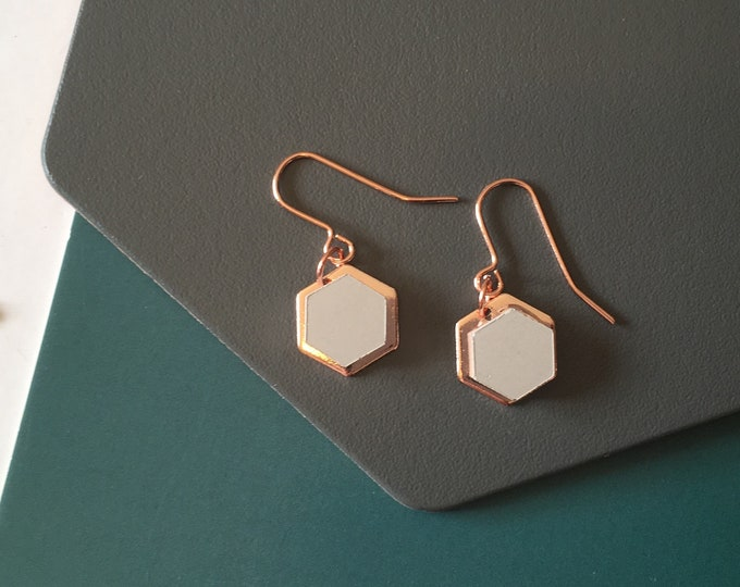 Concrete and Copper Hexagon Earrings//Concrete Earrings//Geometric Earrings