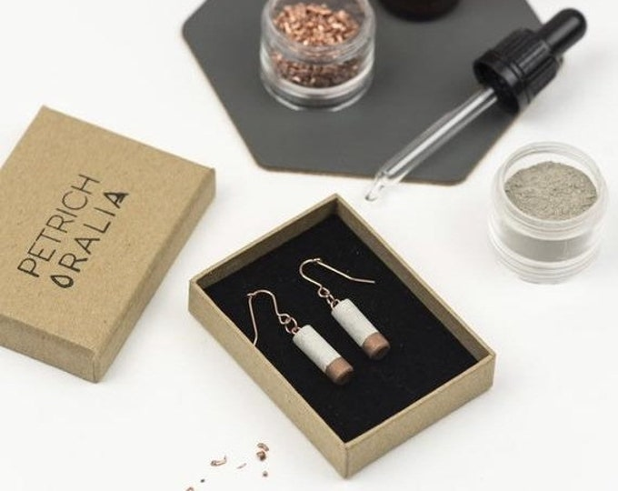 Sale Concrete Mini Column Earrings - Copper Dipped// Concrete Earrings // Brutalist Earrings