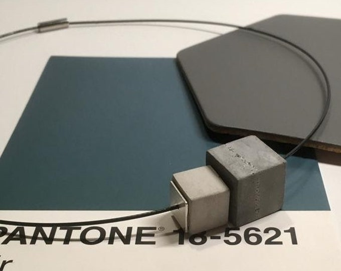 Sale Concrete Bead Choker//Concrete Cube Choker//Brutalist//Concrete Necklace//Memory Wire Choker