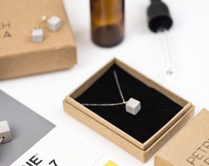 Concrete Cube Necklace Small - Silver // Minimalist Necklace // Brutalist Necklace // Cube Necklace