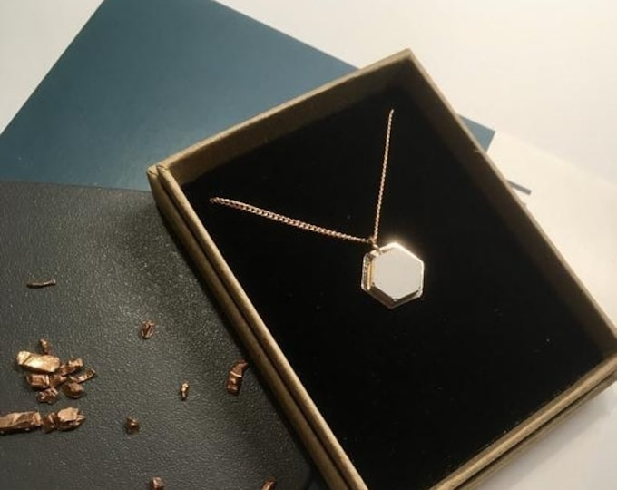 Sale Concrete and Copper Hexagon Necklace// Concrete Necklace//Geometric Necklace