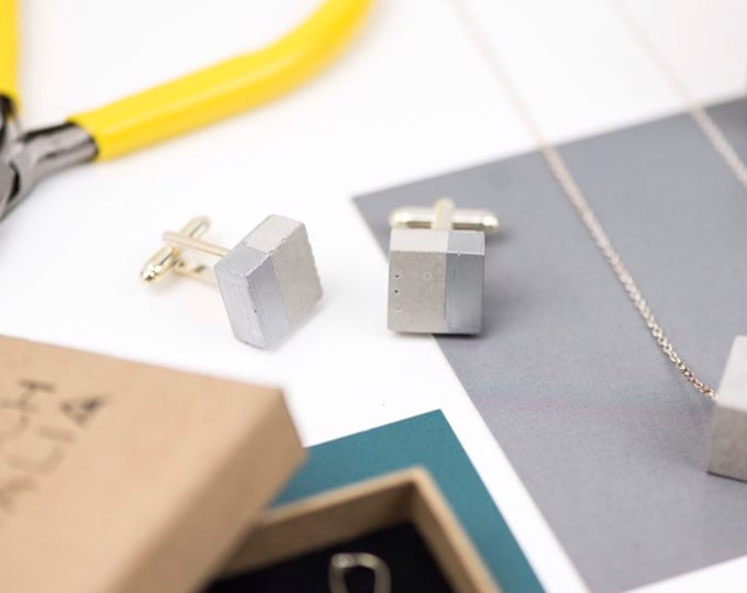 Concrete Cufflinks Square - Silver Dipped // Alternative Cufflinks // Statement Cufflinks // Architectural Cufflinks // Brutalist Cufflinks