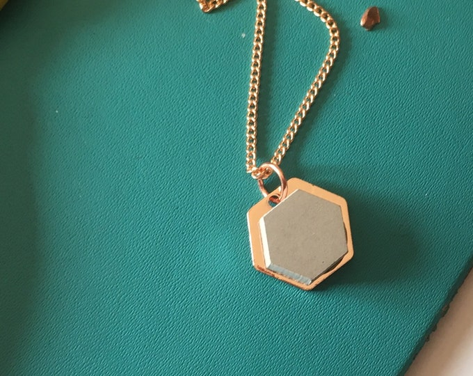 Concrete and Copper Hexagon Necklace// Concrete Necklace//Geometric Necklace