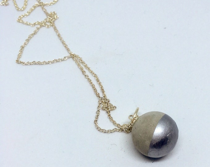 Concrete Sphere Necklace Medium - Silver Dipped //Concrete Sphere // Concrete Ball // Wrecking Ball Necklace