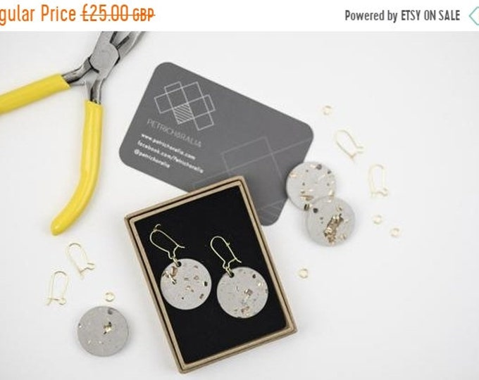 Sale Concrete and Gold Disc Earrings//Concrete Hanging Earrings// Architectural Earrings// Brutalist Earrings