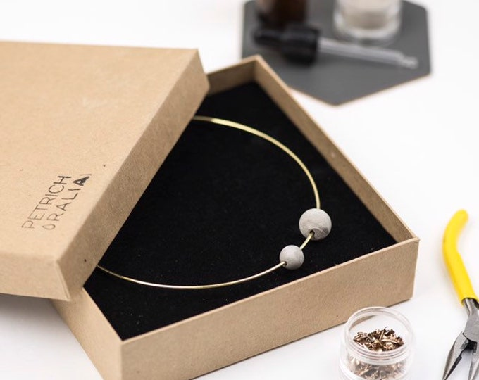 Concrete Bead Choker//Concrete and Gold Choker//Brutalist//Concrete Pearl Necklace