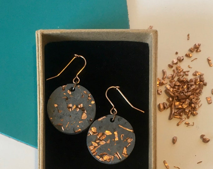 Black Concrete and Copper Disc Earrings//Concrete Hanging Earrings// Architectural Earrings// Brutalist Earrings