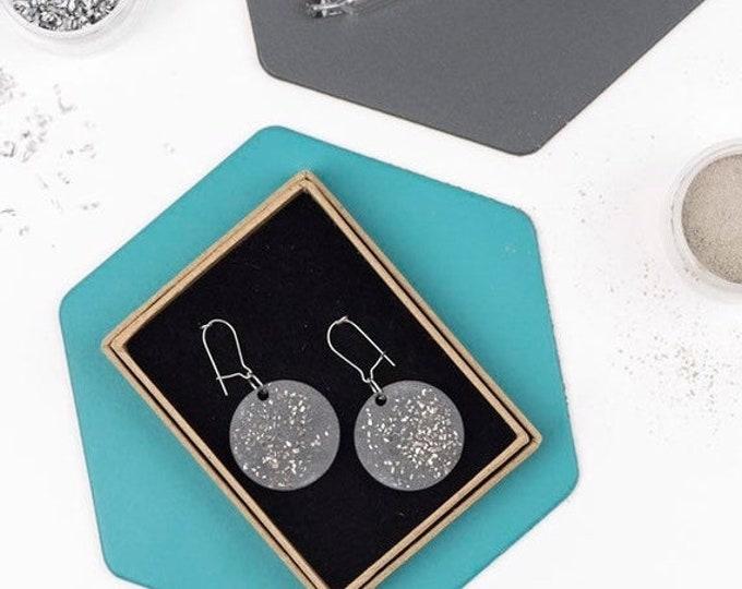 Sale Concrete and Silver Disc Earrings//Concrete Hanging Earrings// Architectural Earrings// Brutalist Earrings