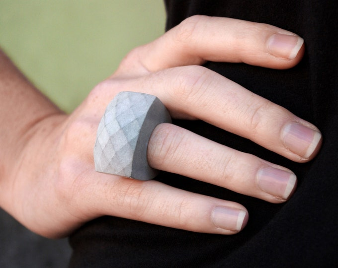 Concrete Facet Ring//Industrial Ring//Statement Ring//Chunky Ring//Brutalist//Architectural