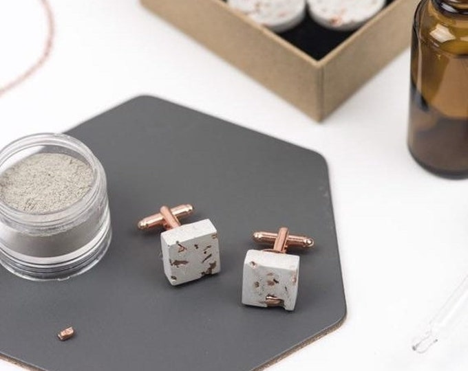 Sale Concrete and Copper Cufflinks //Industrial Cufflinks // Brutalist Cufflinks