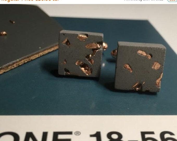 Sale Black Concrete and Copper Cufflinks //Industrial Cufflinks // Brutalist Cufflinks