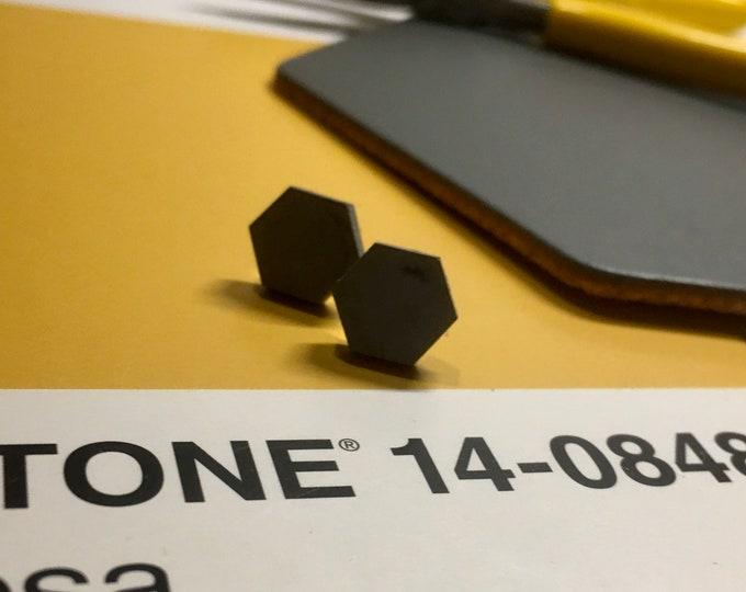 Black Concrete Hexagon Earrings - Stud // Concrete Earrings // Hexagon Earrings // Brutalist Earrings