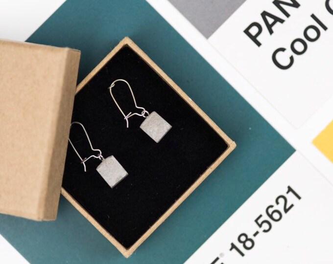 Concrete Cube Earrings - Silver Hoops//Cube Earrings//Geometric Earrings//Brutalist