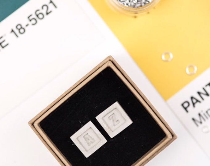 Concrete Monogram Cufflinks// Initial Cufflinks // Industrial // Groomsman Gift// Personalised Cufflinks