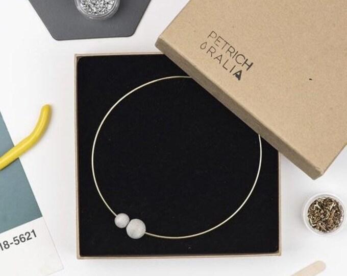 Sale Concrete Bead Choker//Concrete and Gold Choker//Brutalist//Concrete Pearl Necklace