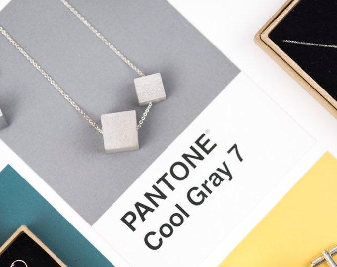 Concrete Cube Necklace//Concrete Bead Necklace//Statement Necklace//Geometric Necklace//Brutalist