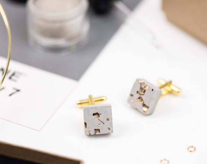 Concrete and Gold Cufflinks //Industrial Cufflinks // Brutalist Cufflinks