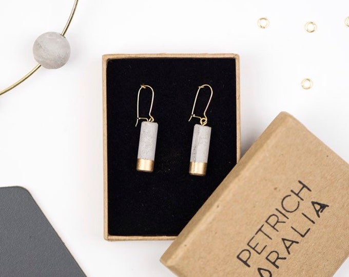 Concrete Mini Column Earrings - Gold Dipped// Concrete Earrings // Brutalist Earrings
