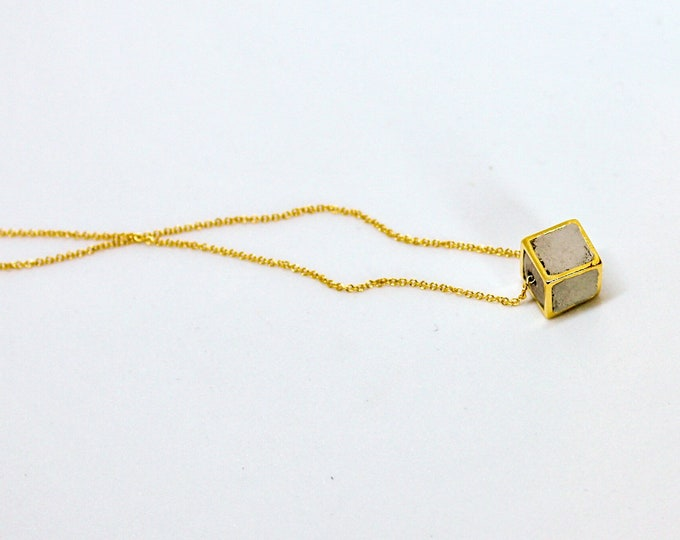 Concrete Filled Gold Hollowcube Necklace//Concrete and Gold Necklace//Concrete Cube Necklace