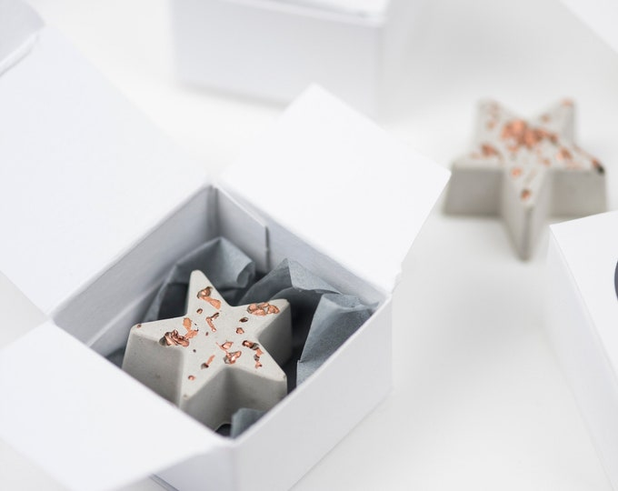 80 Concrete Stars and Hearts// Concrete and Copper Ornaments// Concrete Wedding Favours//Concrete Tokens