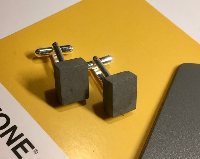 Black Concrete Cufflinks Rectangular// Architectural Cufflinks// Brutalist Cufflinks