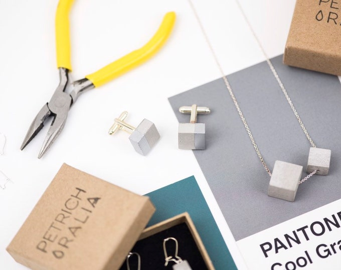 Concrete Cufflinks Square//Geometric Cufflinks//Architectural Cufflinks//Groomsmen Gift