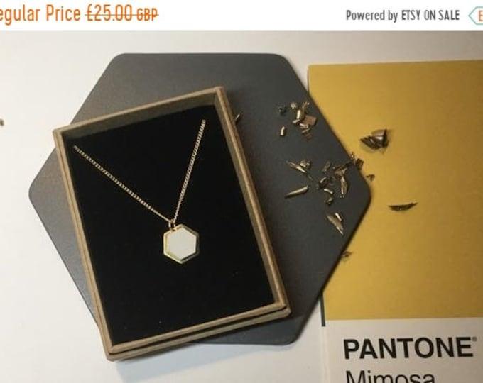 Sale Concrete and Gold Hexagon Necklace// Concrete Necklace//Geometric Necklace