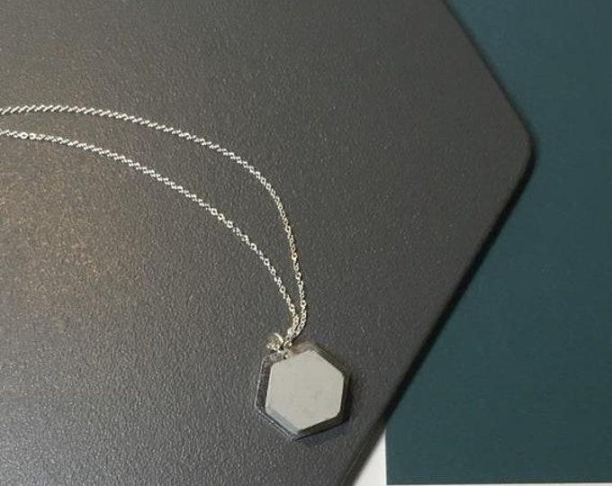 Sale Concrete and Silver Hexagon Necklace// Concrete Necklace//Geometric Necklace