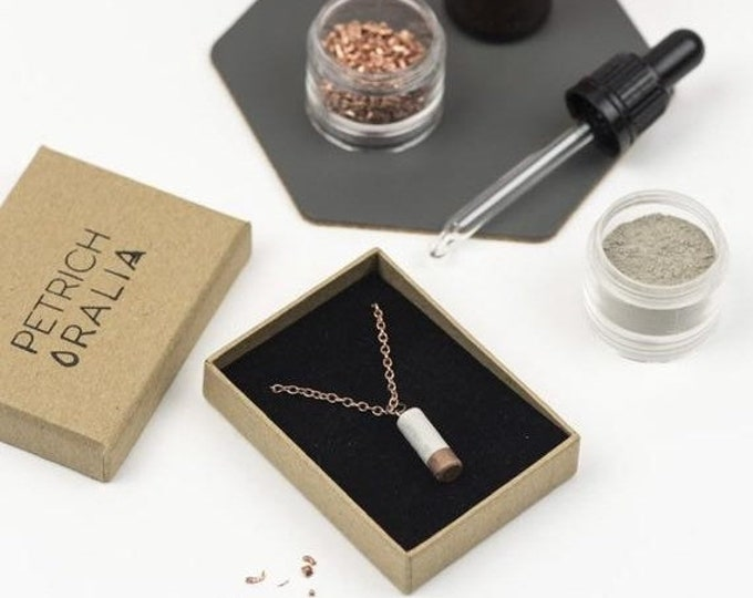Sale Concrete Mini Column Necklace - Copper Dipped // Concrete Necklace // Brutalist Necklace