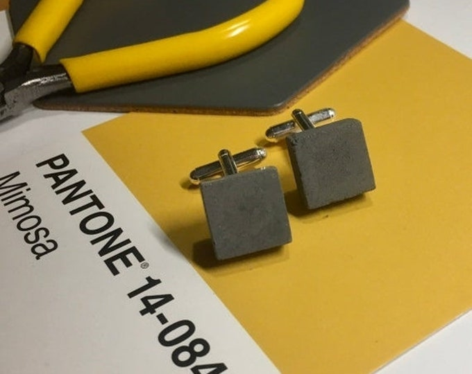 Sale Black Concrete Cufflinks Square//Geometric Cufflinks//Architectural Cufflinks//Groomsmen Gift