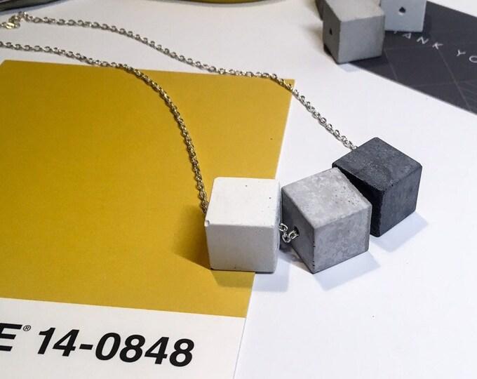 Triple Concrete Cube Necklace Long//Three Colour Concrete Bead Necklace//Statement Necklace//Industrial Necklace//Brutalist
