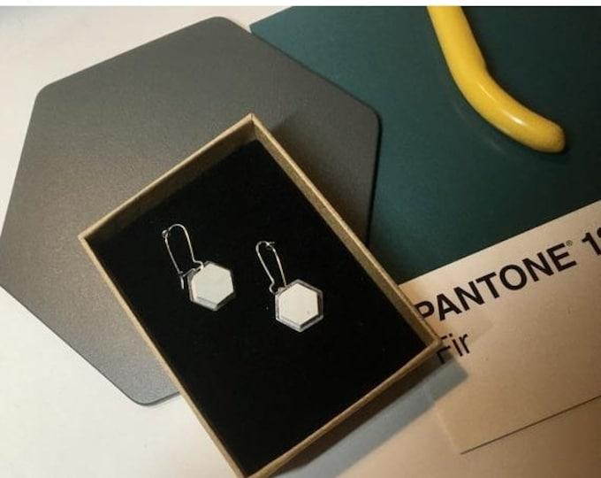 Sale Concrete and Silver Hexagon Earrings//Concrete Earrings//Geometric Earrings